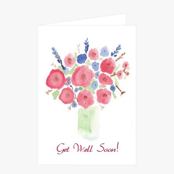 Printable Get Well Soon Card Watercolor Flower Get Well Card