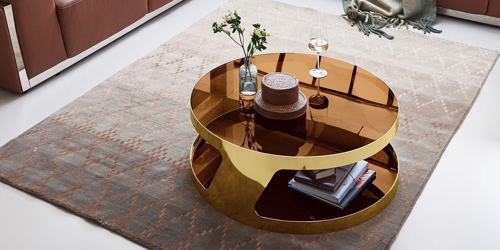 Edelstahl Couchtisch Chrom Gold Rund Mit Glasplatte Couchtisch Tisch Couchtisch Modern