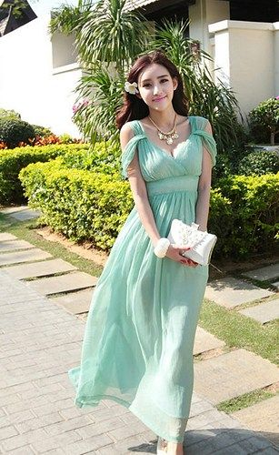 Bohemian Off Shoulder Mint Chiffon Dress Light Green Bridesmaid