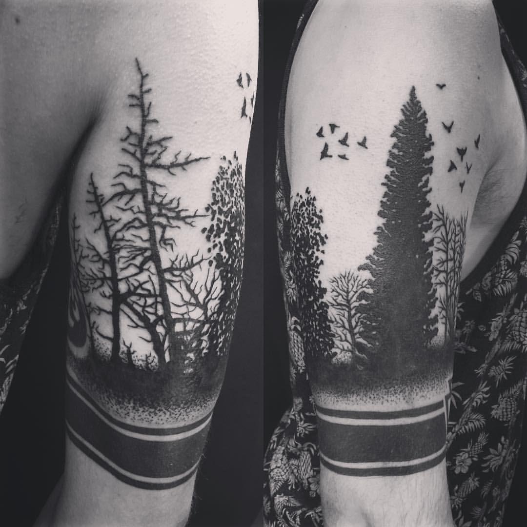 Oksana Weber Tattoo Artist On Instagram Black Forest Foresttattoo Blackwork Tattooshop Oksanaweber Cal Black Tattoo Cover Up Forest Tattoos Tattoos