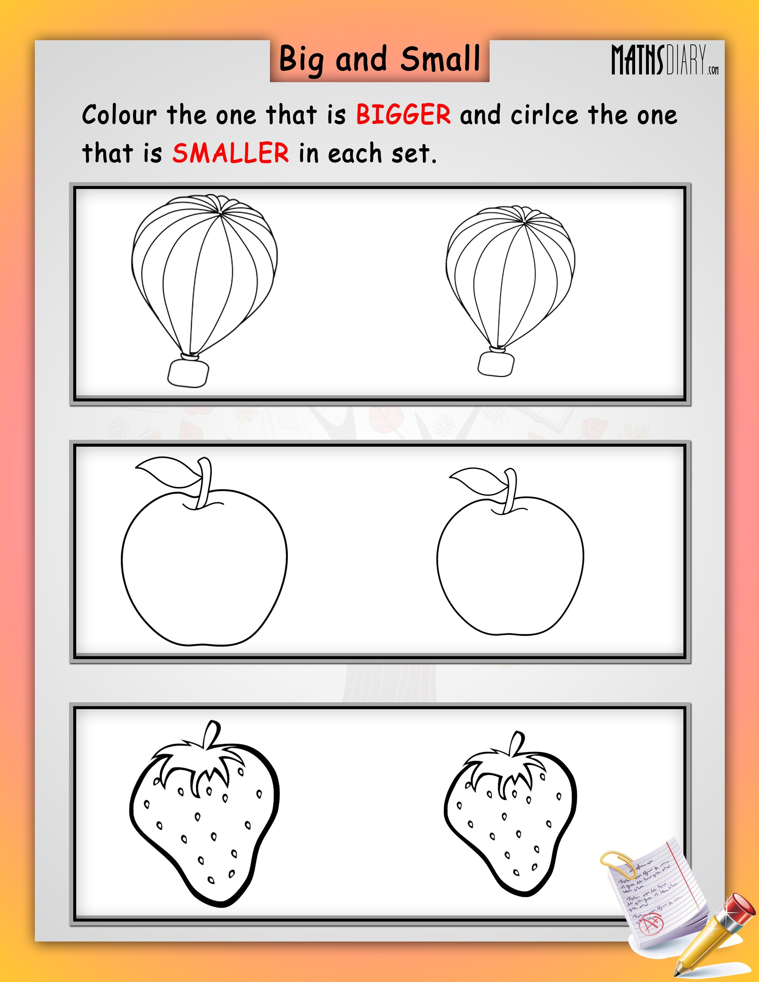 image result for circle the big and colour the small worksheets math color worksheets games. Black Bedroom Furniture Sets. Home Design Ideas