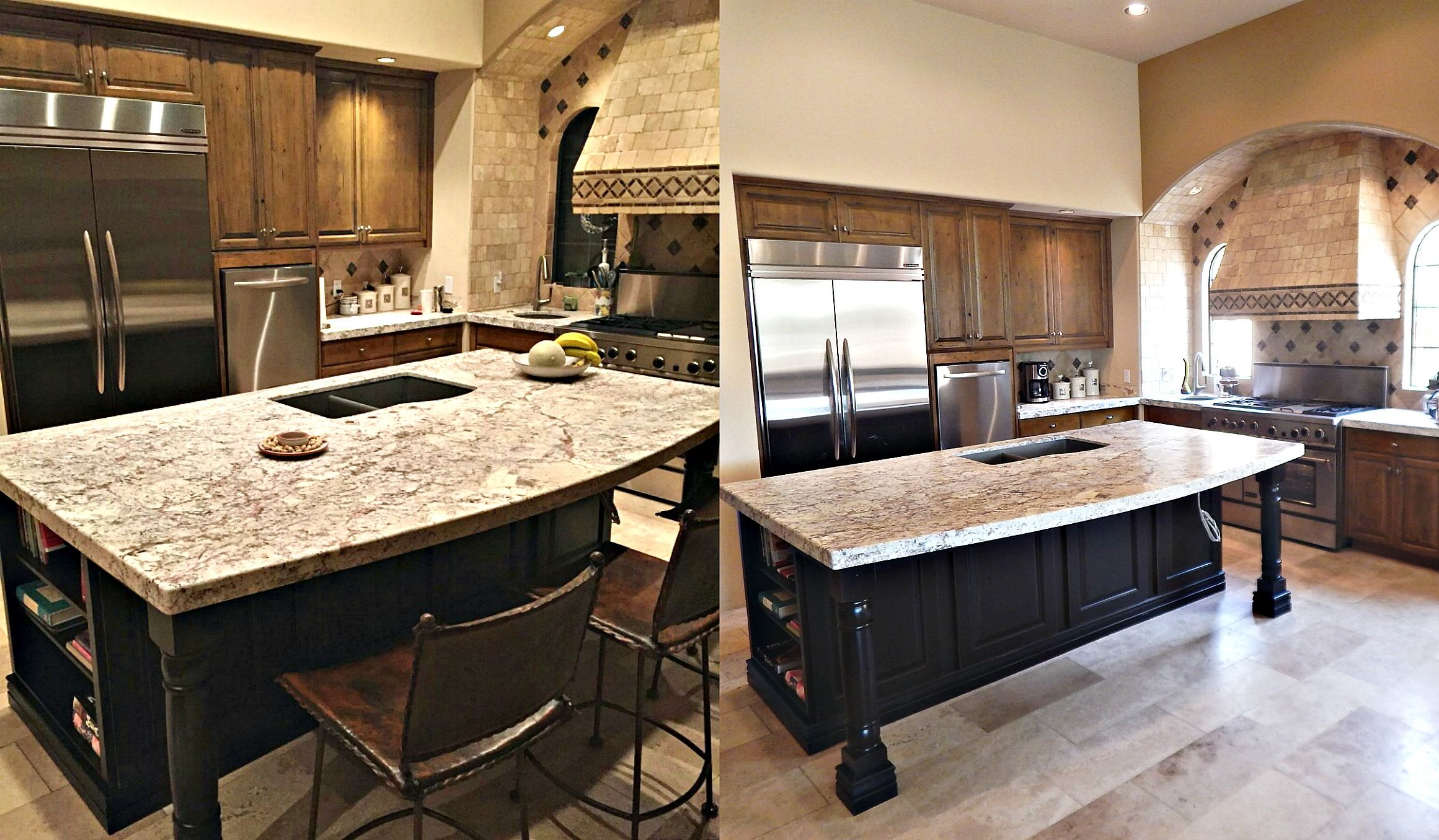 Kitchen Island Remodel In Fountain Hills With White Springs Granite Double Radius Edge 60