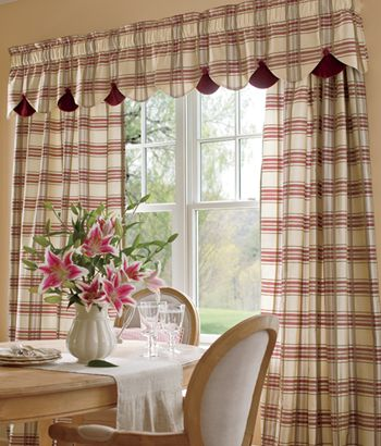 Greenwich Plaid Lined Rod Pocket Curtains Country Curtains Dining Room Curtains Country Kitchen Curtains