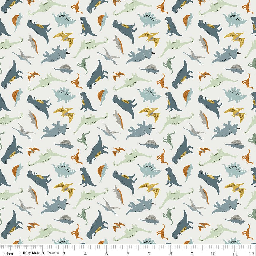 Riley Blake/'s Dinasaurs on white 100/% cotton fabric per fat quarter