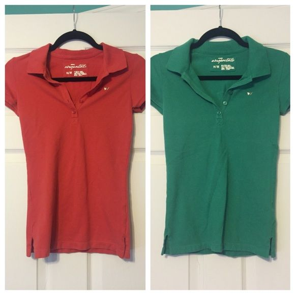 """Polo shirt duo Two medium polo shirts from Aeropostale. Both are super stretchy. The green one has some white marks on the back that may or may not come out in the wash.  cotton/spandex blend  Length: 24"""" Bust Unstretched: 13.5"""" Aeropostale Tops Blouses"""