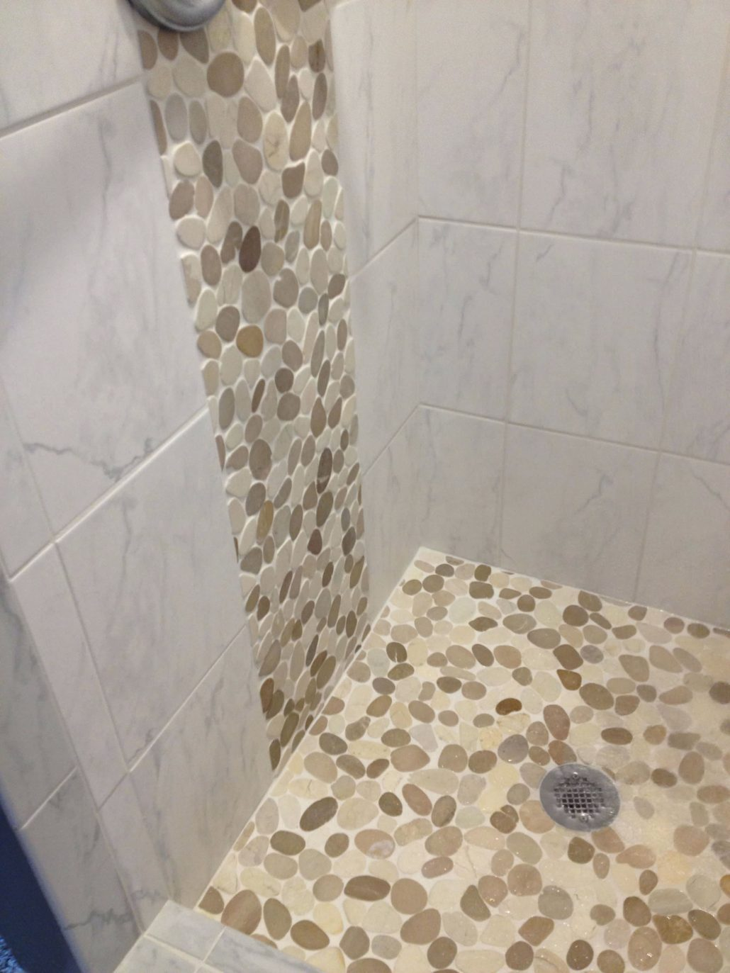 Our Tan And White Sliced Pebble Tile Is