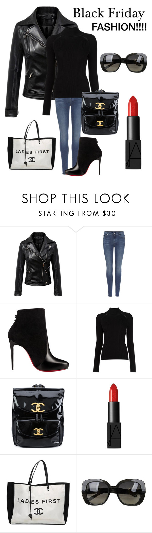 """Happy Black Friday"" by kotnourka ❤ liked on Polyvore featuring Chicnova Fashion, 7 For All Mankind, Christian Louboutin, Misha Nonoo, Chanel, NARS Cosmetics and Bottega Veneta"