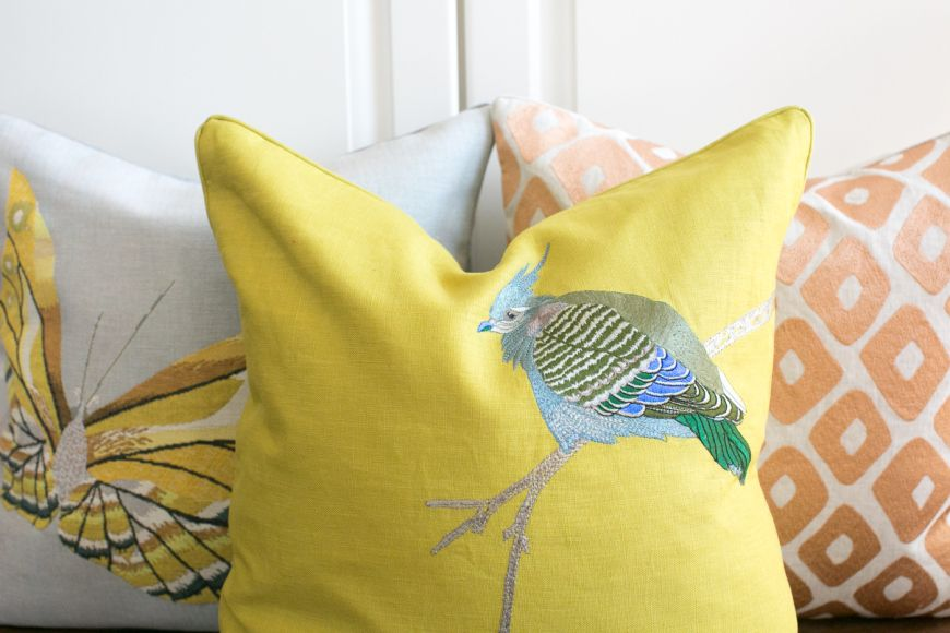 feather your nest   yves delorme a pop of color