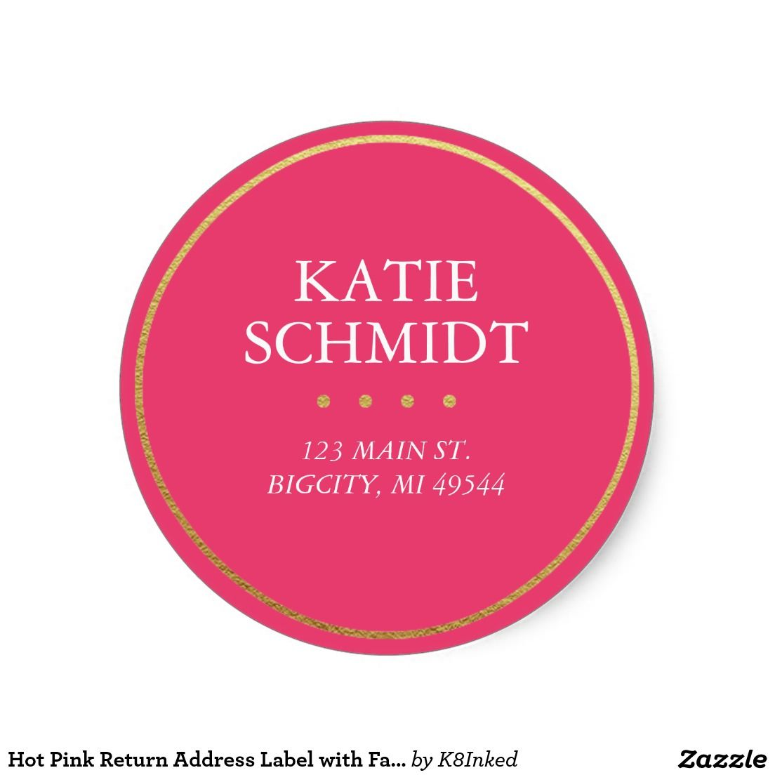 Personalized hot pink return address label with faux gold foil 1 5 classic round sticker