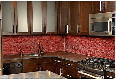 City Kitchen Tile Backsplash Red Cabinets