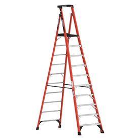 Werner 10 Ft Fiberglass 300 Lb Type Ia Platform Ladder Pdia10 Ladder Platform Ladder Home Depot