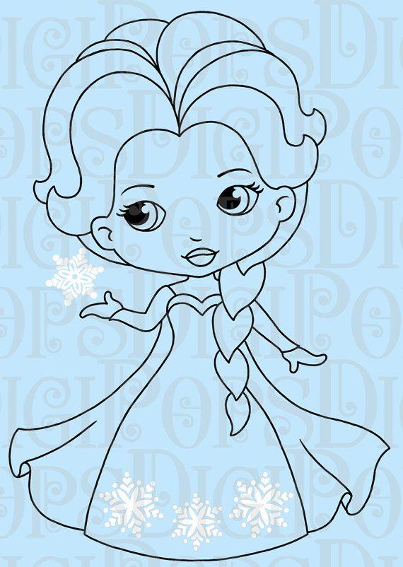 Snow Princess Black And White Digital Clip Art Set Personal Etsy Digital Clip Art Set Snow Princess Digital Clip Art