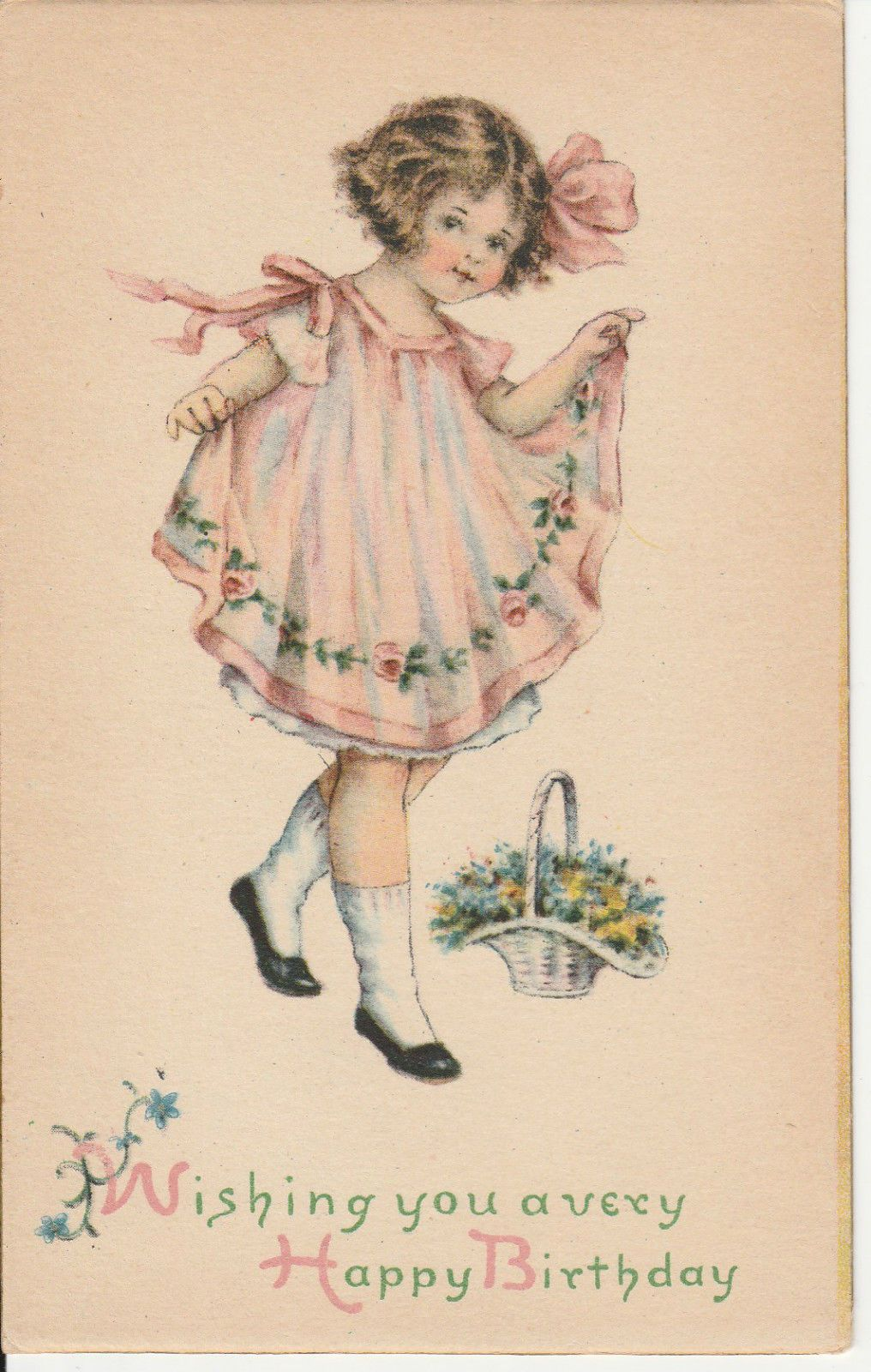 Happy birthday greeting little girl pink dress basket flowers 1918 happy birthday greeting little girl pink dress basket flowers 1918 postcard picclick kristyandbryce Image collections