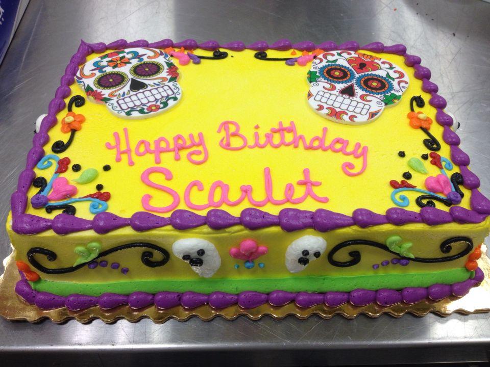 Sugar skulls. Day of the dead birthday cake. 1/4 sheet | stuff I\'ve ...