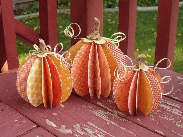 Krbisse aus Papier Dekoration selber basteln  Deco Pumpkin  Basteln herbst dekoration