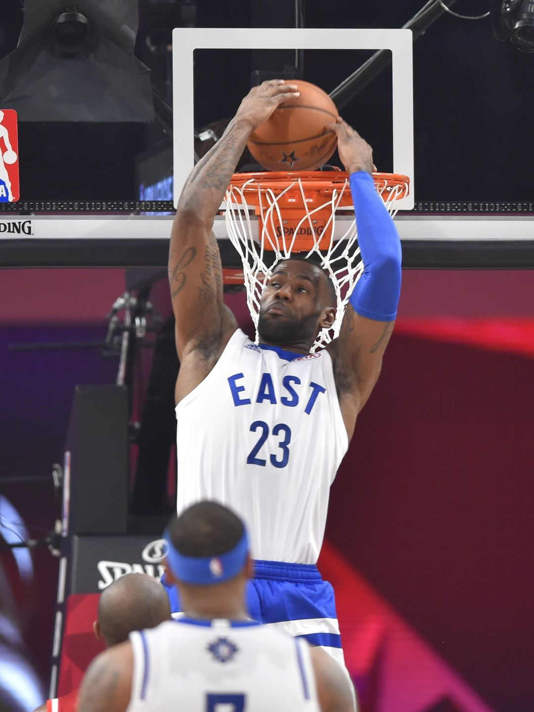 Eastern Conference forward LeBron James dunks in the first