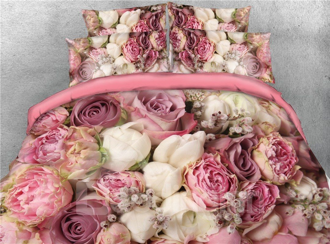 Bouquets Of Rose Flowers Printed 4-Piece 3D Bedding Sets