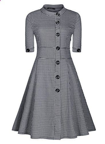 Miusol Women Casual Stand-Up Collar Vintage Houndstooth-Print Slim Summer  Dress Go to the website to read more description. 65afbc61f1d9
