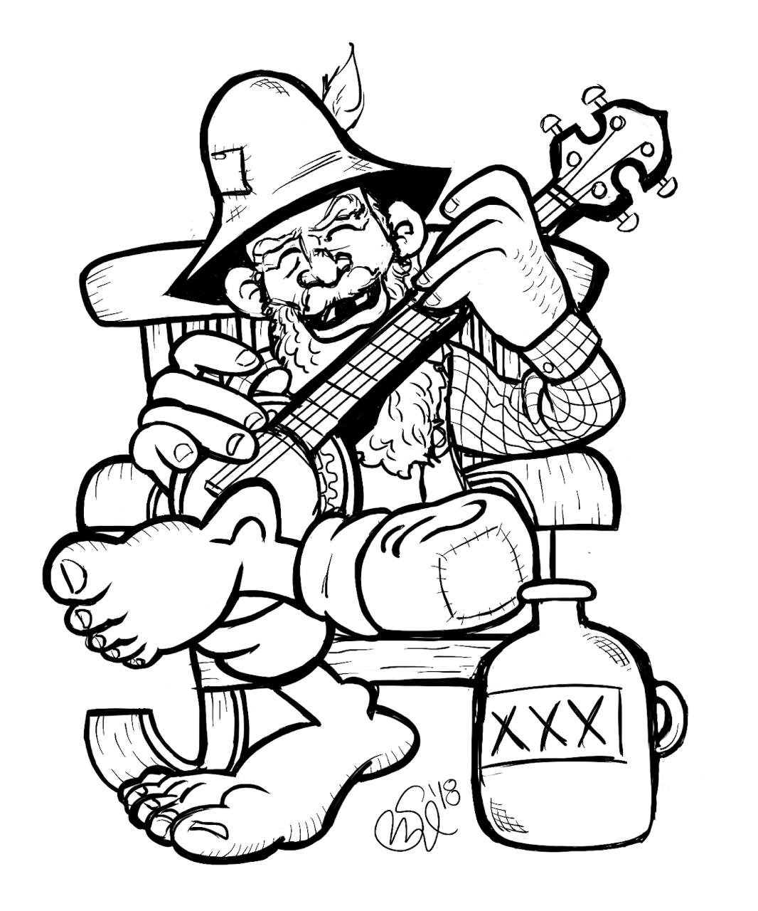 Happy Hillbilly By Ben Sanczel Cartoonist Hillbilly Banjo Art Bw Drawing Ipad Drawings Guitar Wall Art Cartoon Drawings