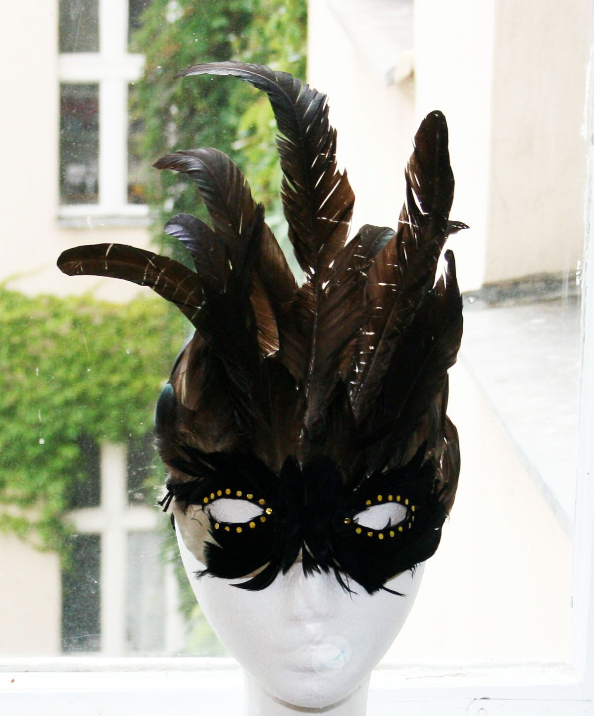 1900 Black Forest Feather Mask Mysterious Costume Carnival ...