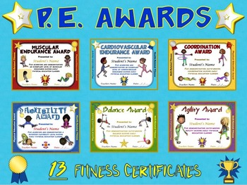 PE AWARDS- 13 Fitness Certificates | Student, The o'jays and Teaching