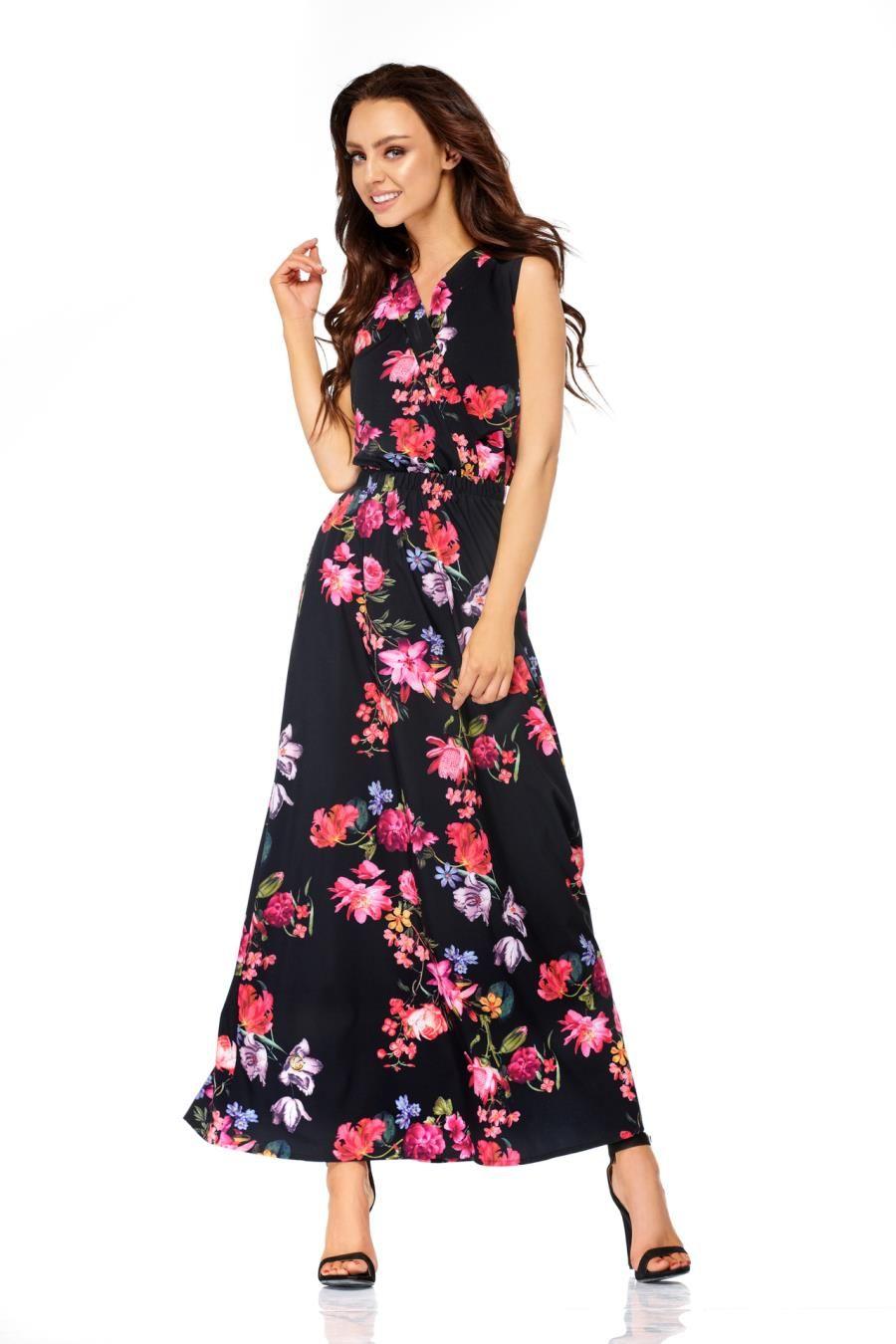 b3512338 Sukienka Maxi Czarna w Kwiaty LEL304 w 2019   Sukienka, Sukienki ...