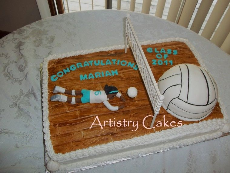 volleyball cakes Full sheet cake fondant covered with fondant