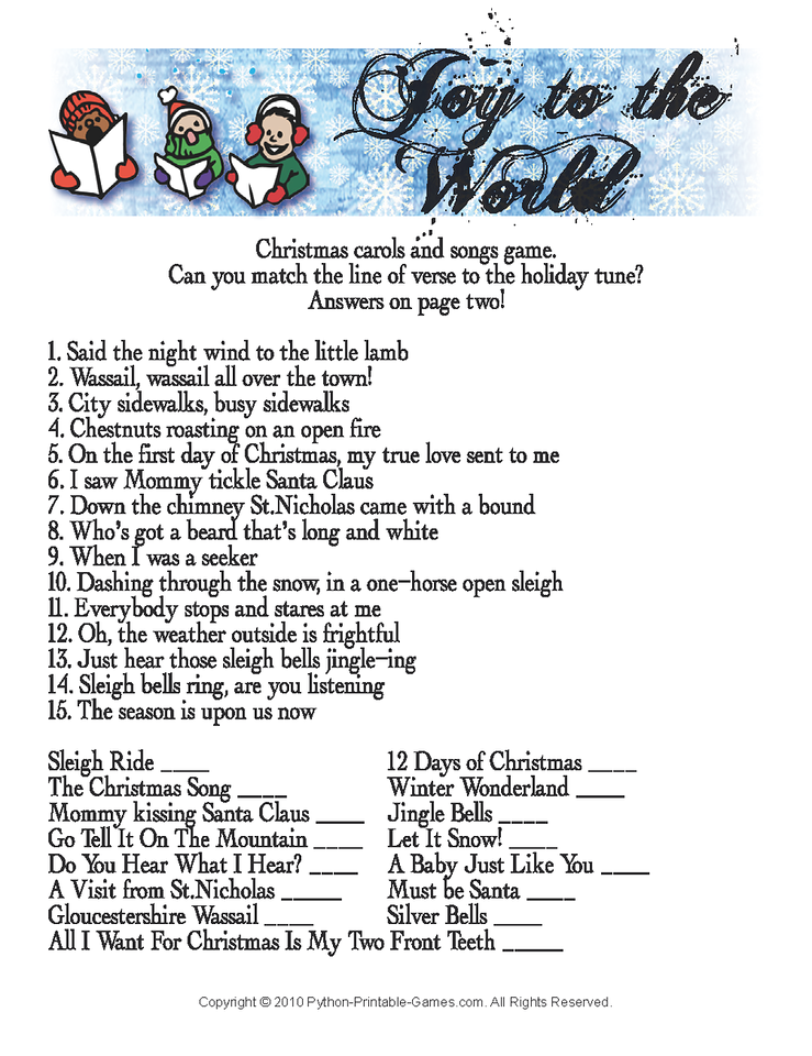 Christmas Party Games with Answers Receive your Games