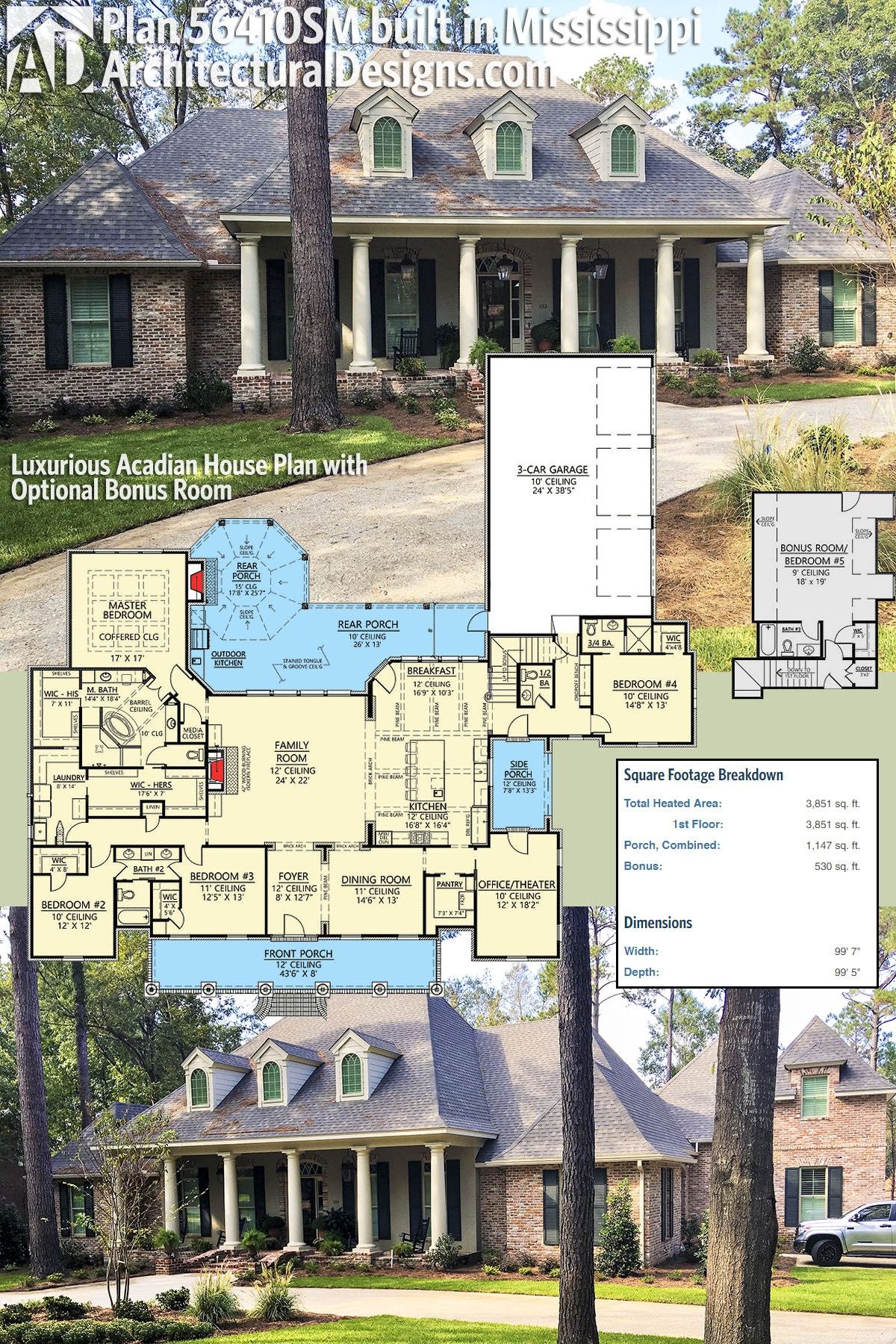 Plan 56410sm Luxurious Acadian House Plan With Optional Bonus Room Acadian House Plans House Plans Dream House Plans