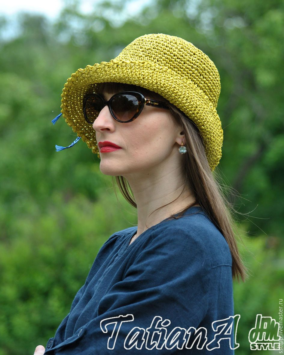 "Купить Вязаная шляпа из рафии ""Шёпот июня"" - желтый, шляпка, шляпа, шляпа…"