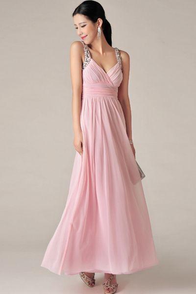 Elegant Rhinestone Strap Maxi Dress