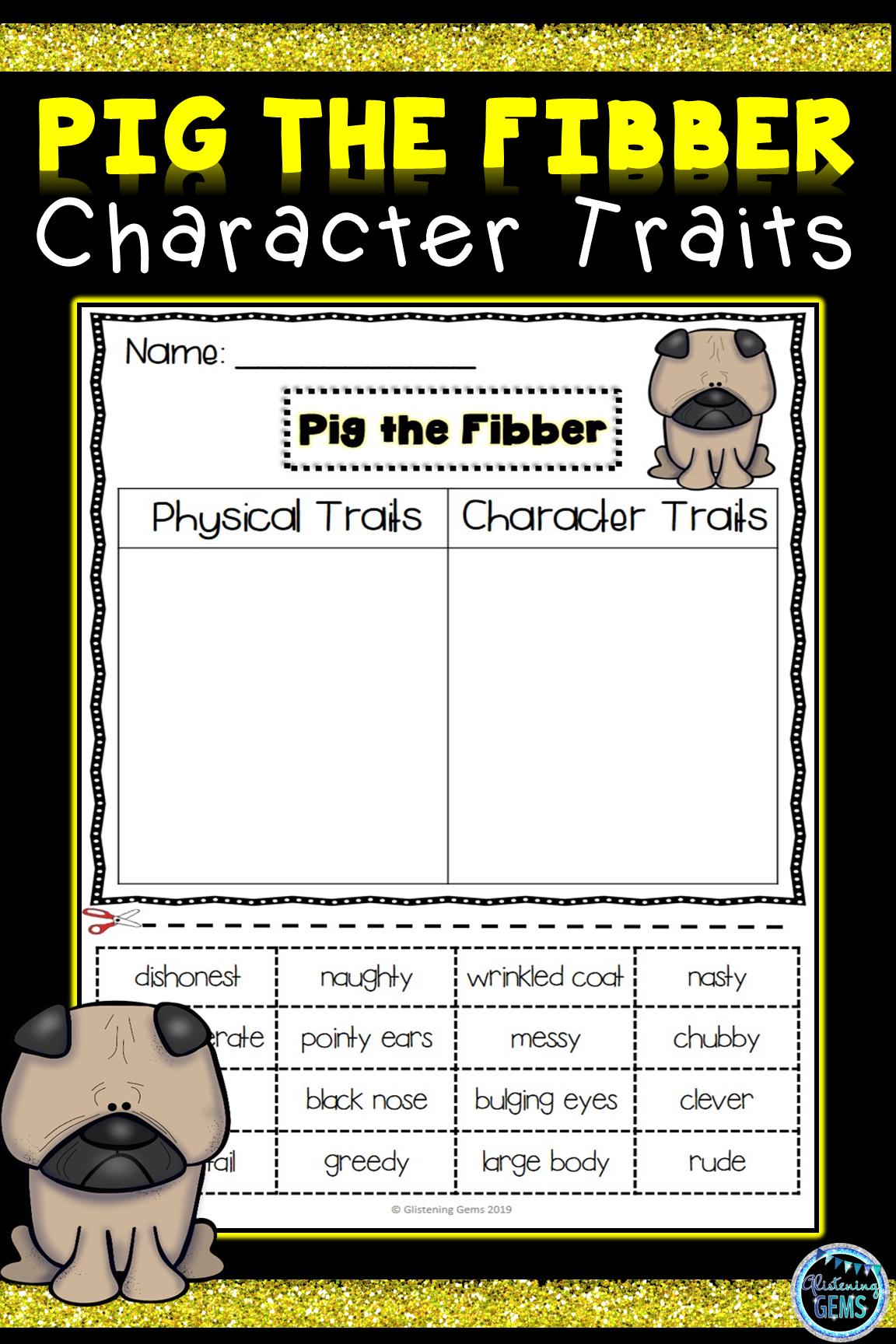 Pig The Fibber Character Traits Activities Bundle