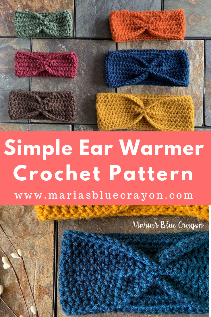 Simple Crochet Ear Warmer Free Pattern for Beginners - Maria's Blue Crayon