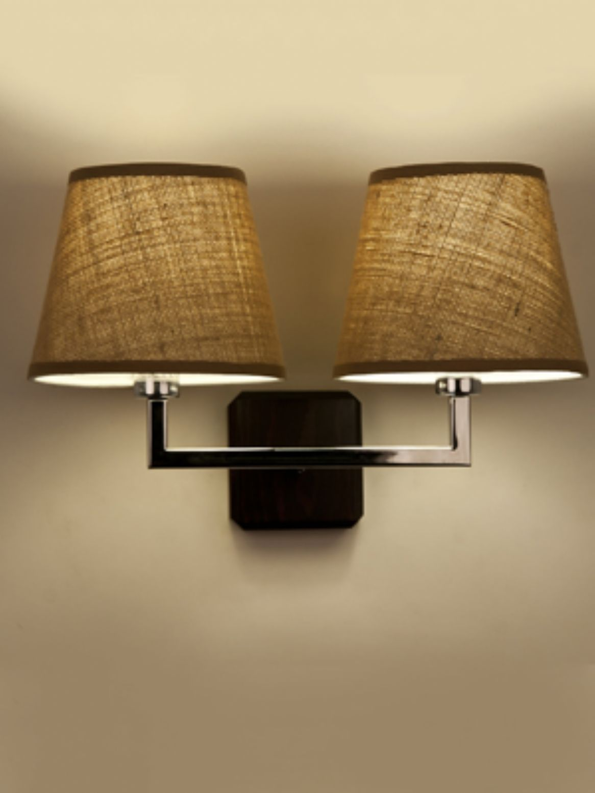 twin chrome wall light with brown fabric shadesby chantelle