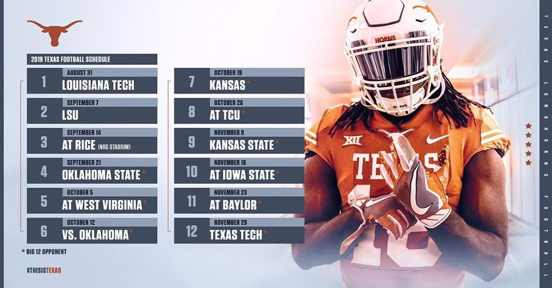 Texas 2019 Schedule. Drop their 2019 Record below ⤵️