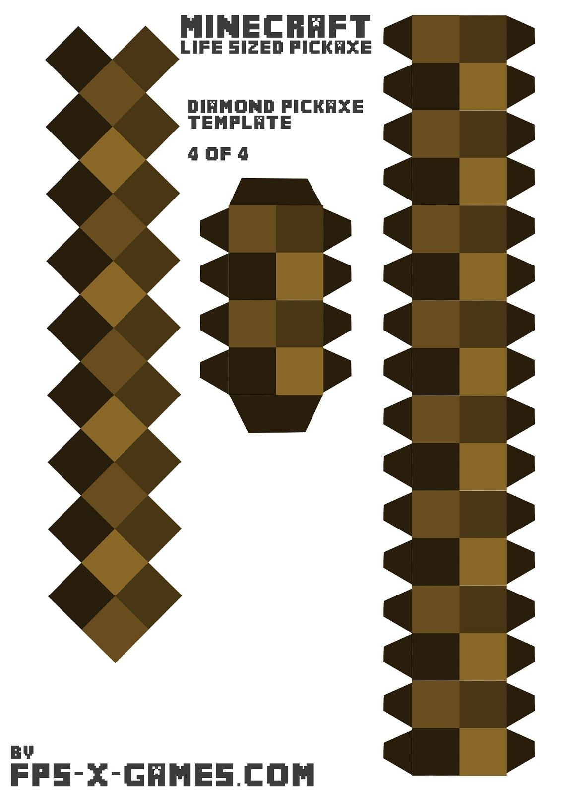 Minecraft life sized diamond pickaxe printable papercraft for Minecraft cut out templates