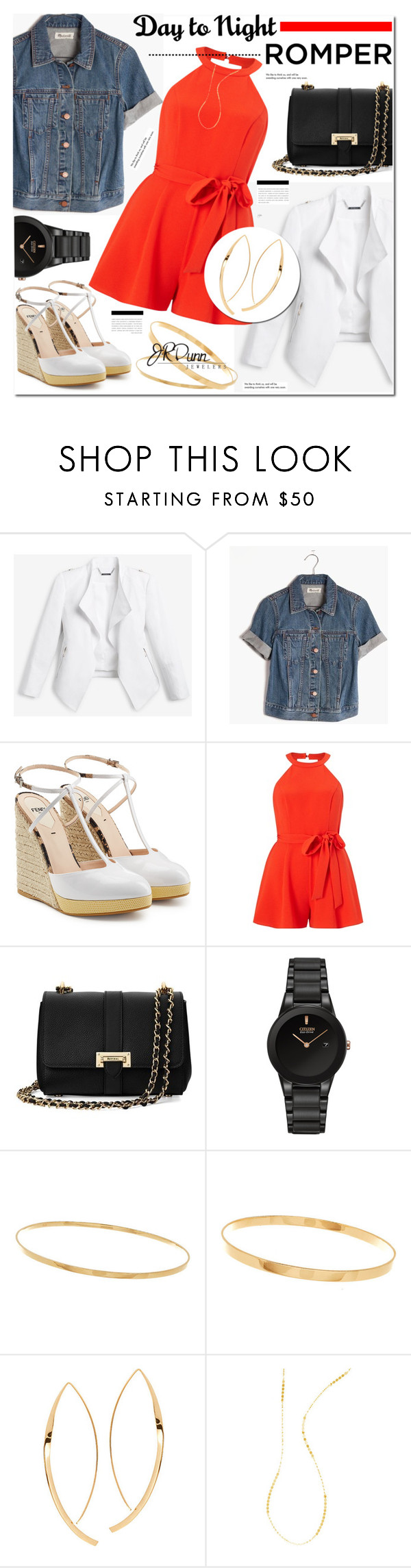"""""""Fashion Forward with JRDunn.com- Day to night Rompers"""" by cly88 ❤ liked on Polyvore featuring White House Black Market, Madewell, Fendi, Miss Selfridge, Aspinal of London, Citizen, Lana, Tiffany & Co. and Dunn"""