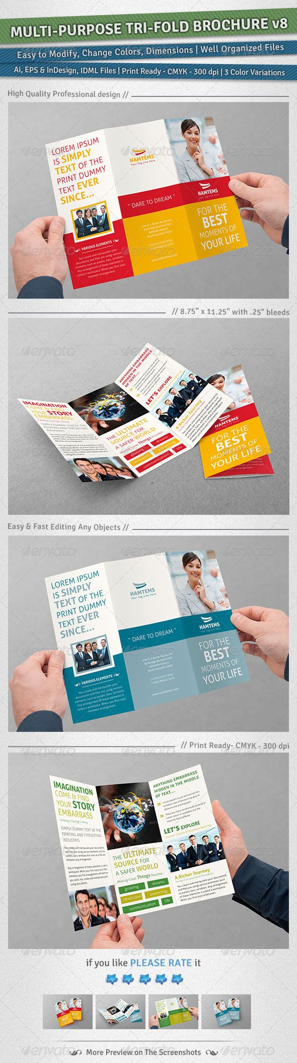 MultiPurpose TriFold Brochure  Volume   Tri Fold Brochure