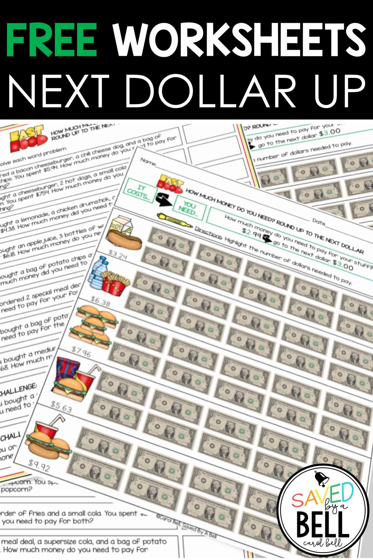 Free Next Dollar Up Worksheets Special Education Math Special Education Worksheets Life Skills Classroom