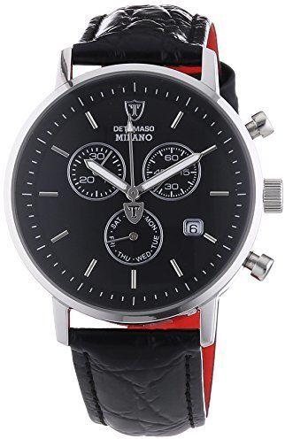 DETOMASO Men s DT1052-A MILANO Chronograph Classic schwarz schwarz Analog  Display Swiss Quartz Black Watch c5c02927d1