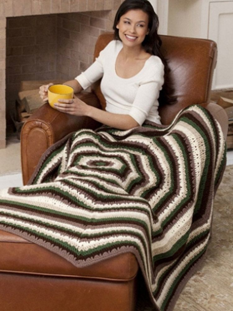 Earthly Tones Octagonal Afghan in Caron One Pound - Downloadable PDF ...