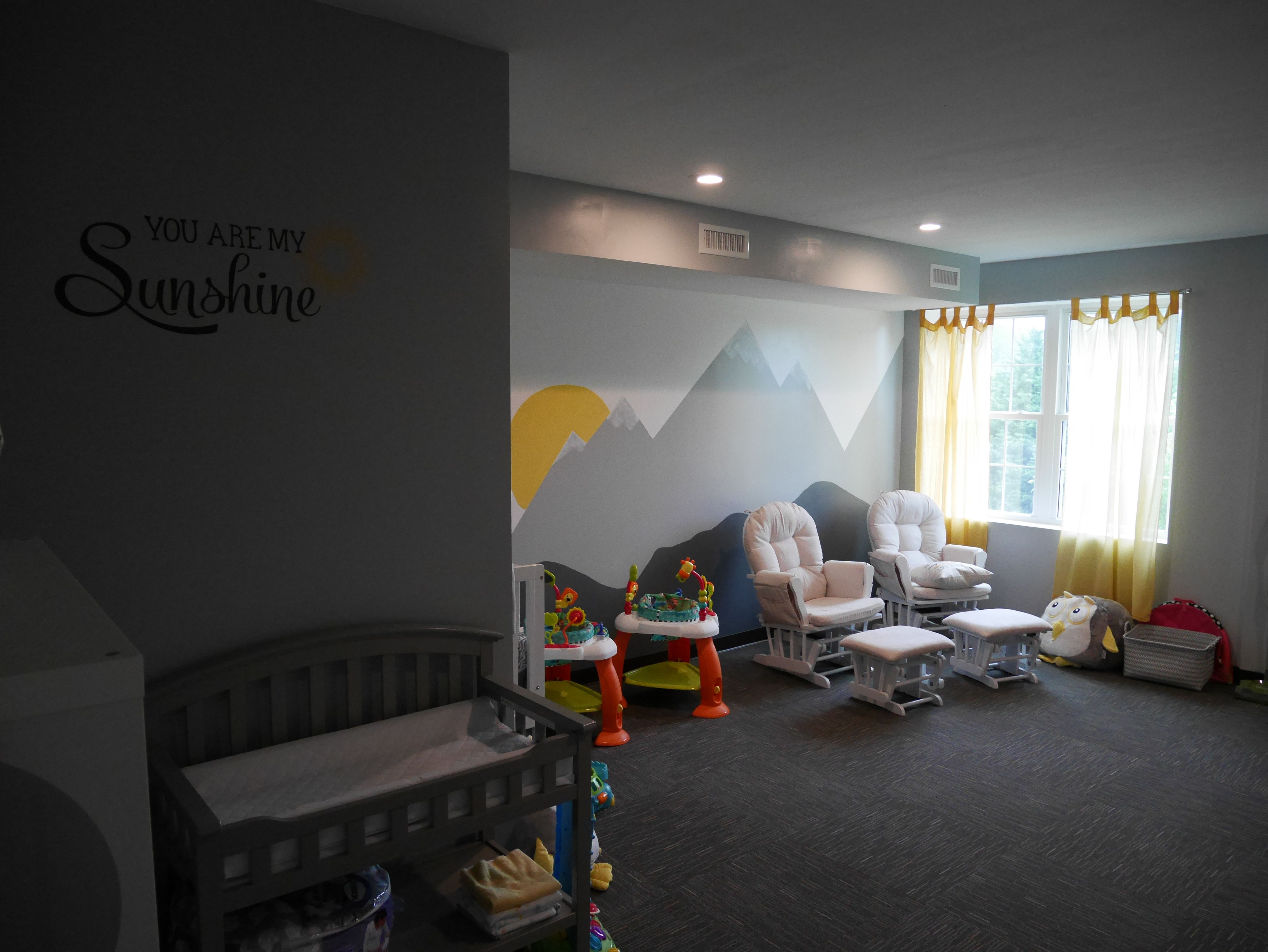 Church Nursery Quarter Turned Carpet Tile Mountain Themed Accent