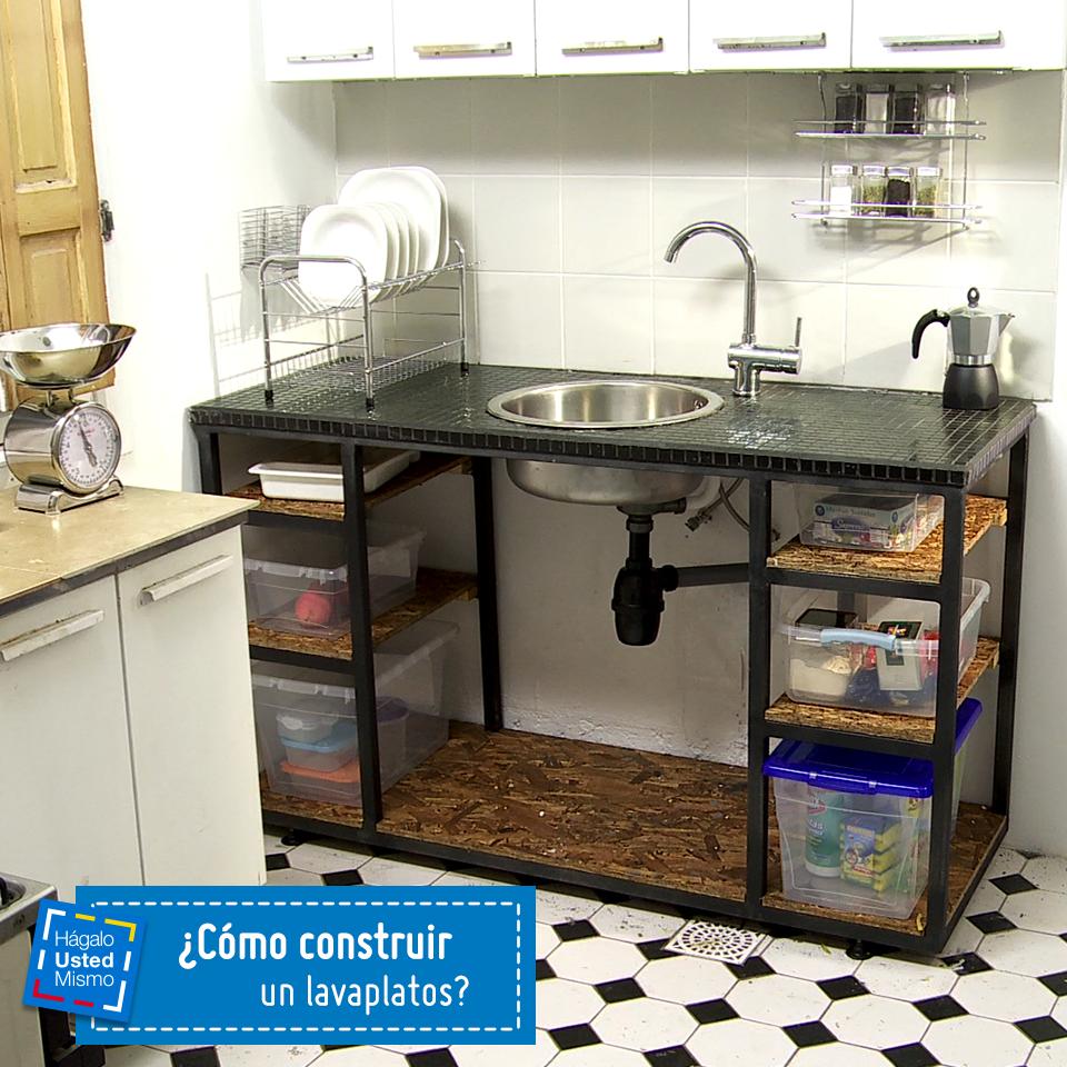 C mo construir un lavaplatos aprende paso a paso aqu for Muebles de cocina homecenter