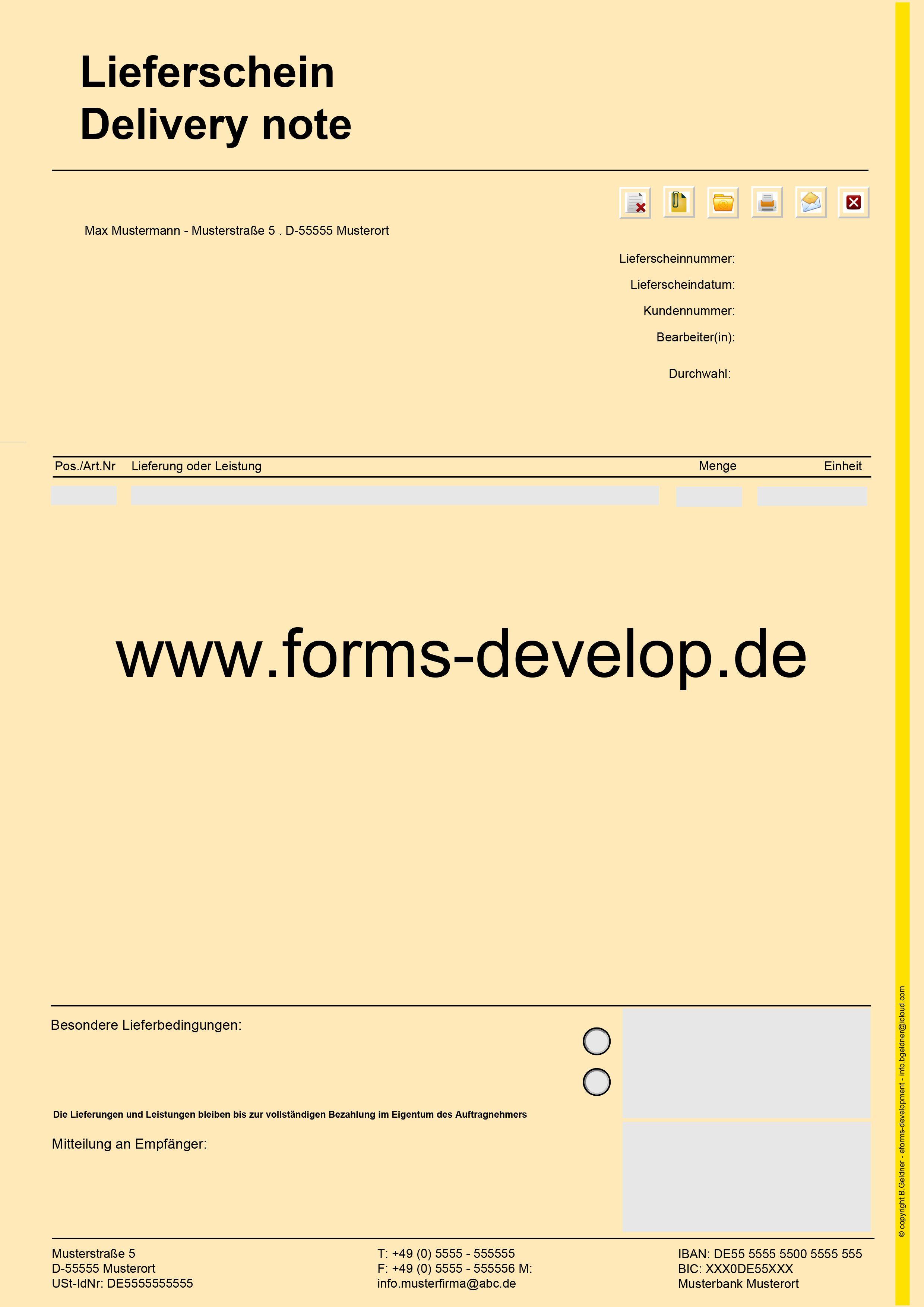 pdf formular lieferschein position lieferung oder. Black Bedroom Furniture Sets. Home Design Ideas
