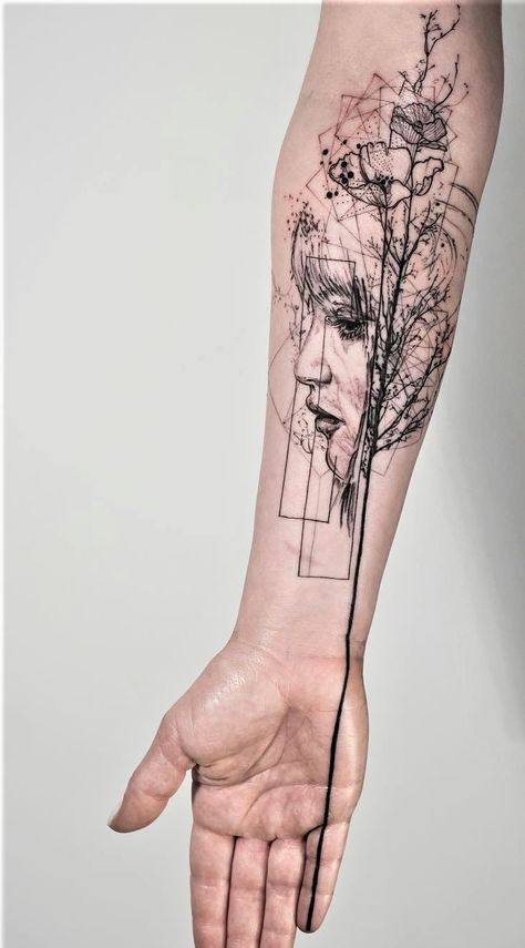 Geometric Tattoo – 'Death is the Road to Awe' graphic tattoo -   12 geometric tattoo men ideas