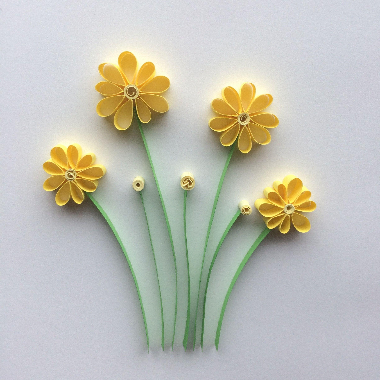 Yellow daisy flowers quilled paper art wall art summer art