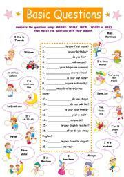 English Exercises: Question Words | English exercises ...