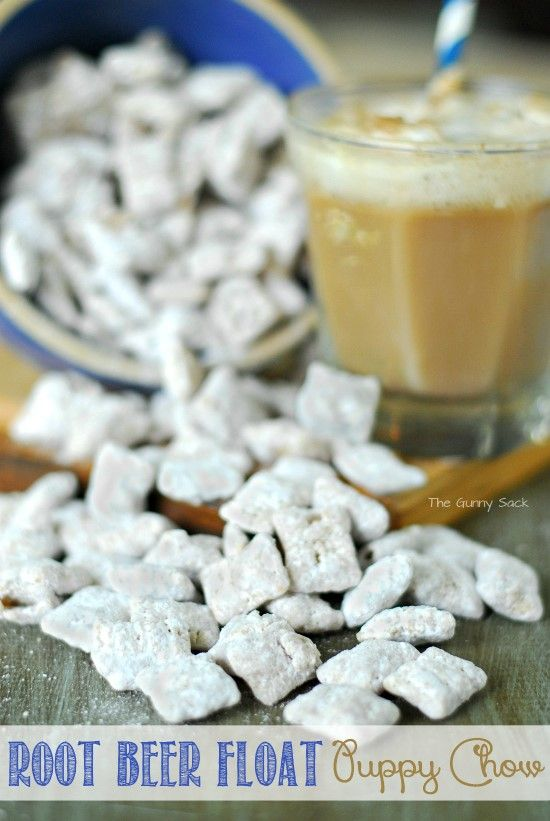 Root Beer Float Puppy Chow Is Bursting With The Flavor Of Summer This Recipe Is Also Know As Muddy Buddies Puppy Chow Recipes Snack Mix Recipes Chex Mix Recipes
