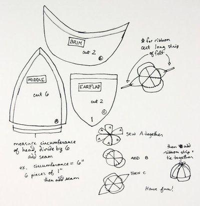 deerstalker hat / cap sewing pattern # Sherlock hat