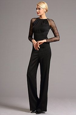 stylish lace long sleeves black jumpsuit 03160800 la collection 2016 edressit pinterest. Black Bedroom Furniture Sets. Home Design Ideas